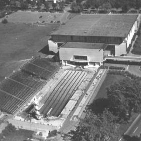 Aerial View of Empire Pool and War Memorial Gymnasium