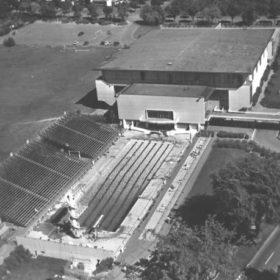 Aerial View of Empire Pool and War Memorial Gymnasium