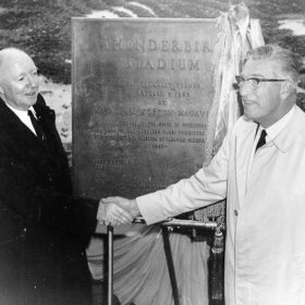 Allan McGavin and John Buchanan at opening ceremonies for Thunderbird Stadium, 1967