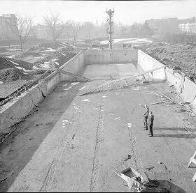 Construction of Empire Pool - Feb 1954