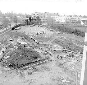 Construction of Empire Pool - Nov 26, 1953