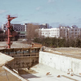 Construction of Empire Pool - Feb 1954