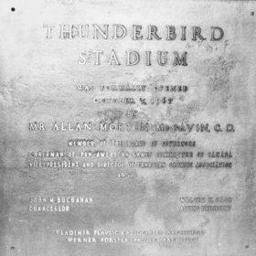 Plaque at opening ceremonies for Thunderbird Stadium, 1967