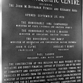Dedication Plaque at opening of Aquatic Centre - Sep 27 1978